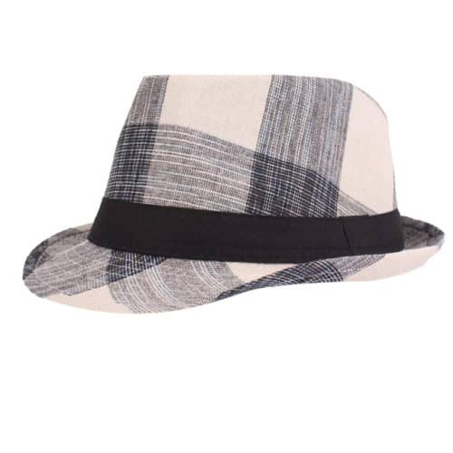 Black Plaid Fedora Hat For Men and Women