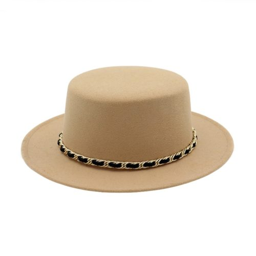 Flat Top Beige Fedora Hat