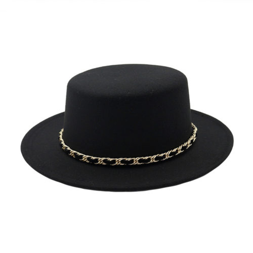 Flat Top Black Fedora Hat