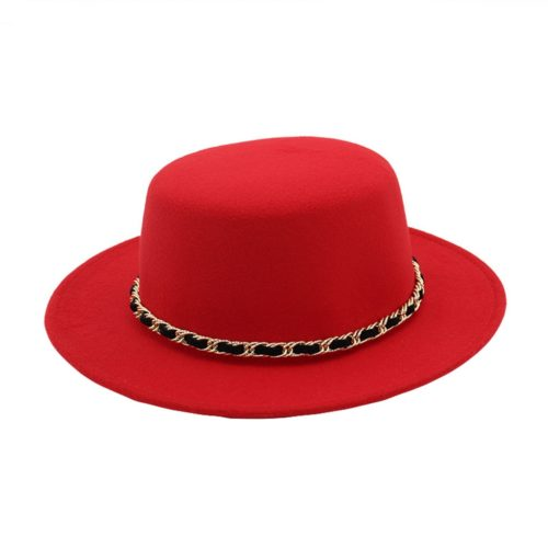 Flat Top Red Fedora Hat