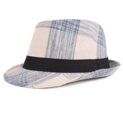 White Plaid Fedora Hat For Men and Women