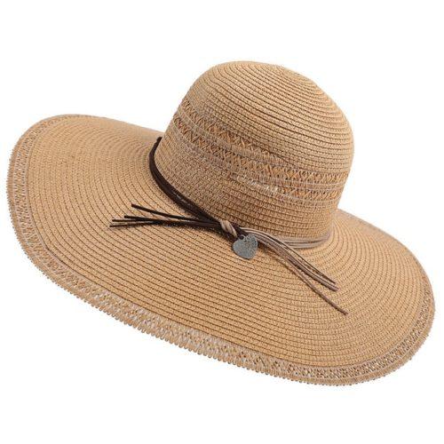 Wide Brim Straw Fedora Hat Khaki