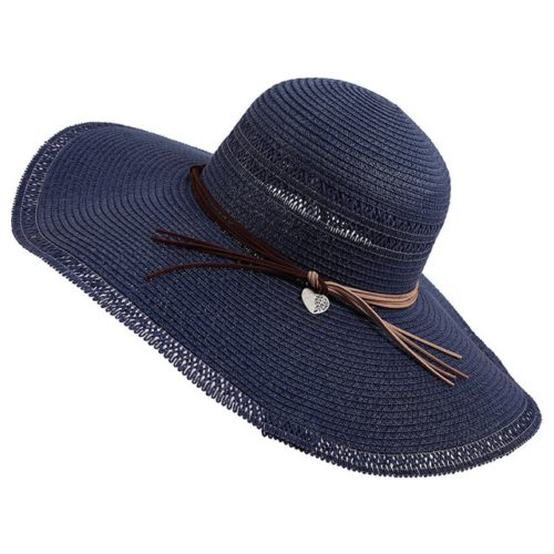 Wide Brim Straw Fedora Hat Navy