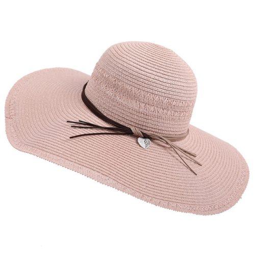 Wide Brim Straw Fedora Hat Pink